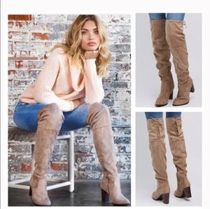 Boutique Shoes - Over The Knee Taupe Vegan Suede Heeled Boots